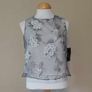 [ZARA] NWT Sheer Floral Overlay Top, Lined